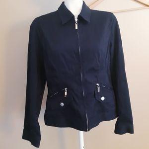 Jones New York | navy blue light zip up jacket